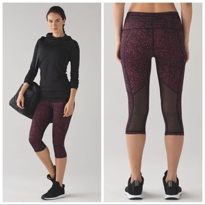 """Lululemon Outrun 17"""" Crop Shatter Weave Dust Coral"""